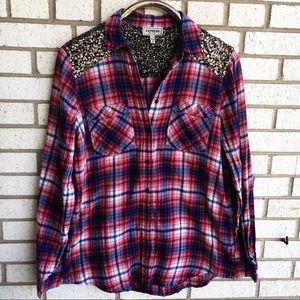 Express Boyfriend Sequin Flannel Shirt Red M